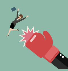 business woman punched by her boss big hand vector image vector image
