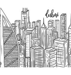 dubai black and white cityscape in line art style vector image vector image