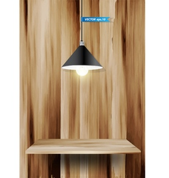 Wood shelf and lamp vector image vector image