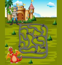 boardgame template with knight and dragon vector image