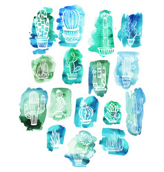 cactuses on the watercolor background vector image