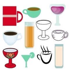 Cups various set vector image