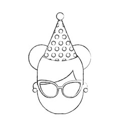 Cute young girl with party hat avatar character vector