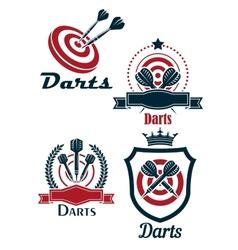 Darts sporting emblems vector image vector image