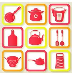 Set of 9 retro icons of kitchen utensils vector image