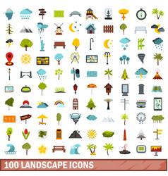 100 landscape icons set flat style vector image
