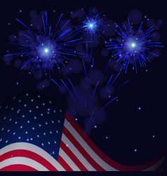 4th of july blue fireworks and flag vector image