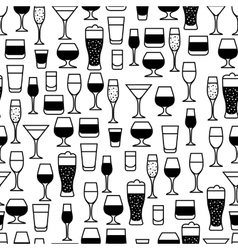 Alcohol drinks seamless pattern Glasses for vector