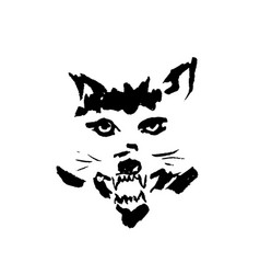 angry wolf with grin vector image