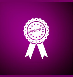 approved or certified medal badge with ribbons vector image