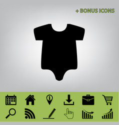 baby cloth black icon at vector image