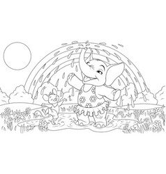 baby elephant with a mouse vector image
