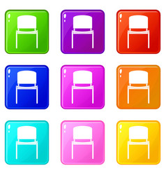 Black office chair set 9 vector