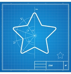 Blueprint star card vector