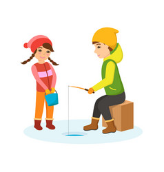 boy and girl in warm clothes on winter fishing vector image