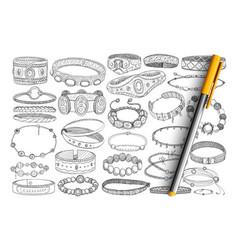 Bracelets and baubles doodle set vector