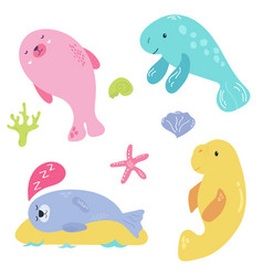 bright set with cute marine animals vector image