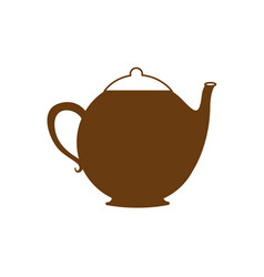 Brown silhouette teapot icon drink vector