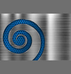 Brushed metal texture with blue spiral perforation vector