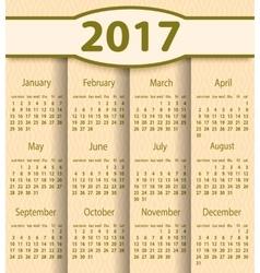 Calendar 2017 year design template vector image