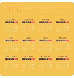 Calendars for 2016 Orange vector image