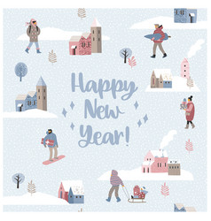 christmas and happy new year seamless vector image