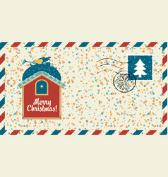 christmas envelope with angel and christmas star vector image