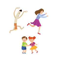 cigarette running after woman frightened children vector image