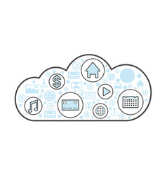 Cloud computing linear style icon vector