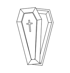 Coffin icon in outline style isolated on white vector