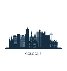 cologne skyline monochrome silhouette vector image