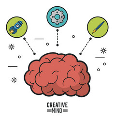colorful poster of creative mind with brain and vector image