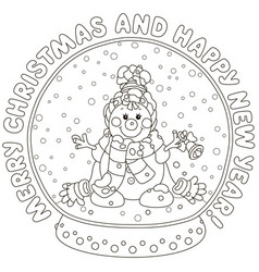 crystal ball with a funny snowman vector image