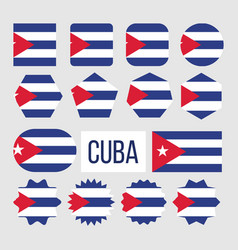 cuba national flag collection figure set vector image