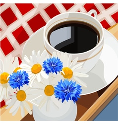 cup of coffee on a table with flowers vector image vector image
