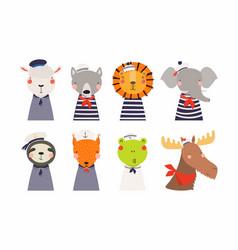 Cute little animals sailors set vector