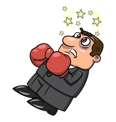 Defeated businessman in boxing gloves 2 vector