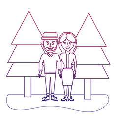 degraded outline beauty couple together with pine vector image
