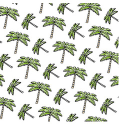 Doodle tropical palm nature tree background vector