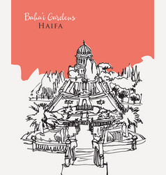 drawing sketch bahai gardens in haifa vector image