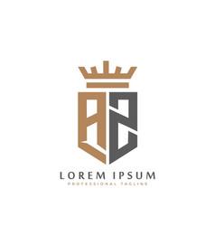 Elegant wordmark az initial shield crown logo vector