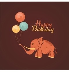 elephant happy birthday card vector image