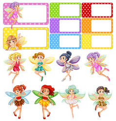 Fairies flying and frame design vector