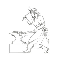 Female blacksmith at work doodle art vector