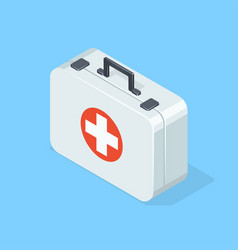 first aid kit on blue background vector image