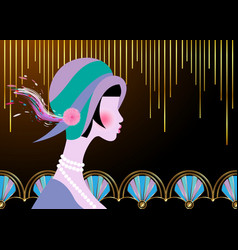 Flapper girl with hat art deco gold retro party vector