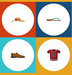 Flat icon clothes set of beach sandal t-shirt vector