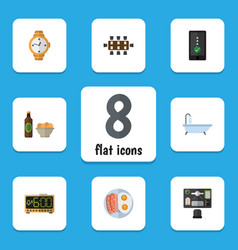 Flat icon life set of electric alarm fried egg vector