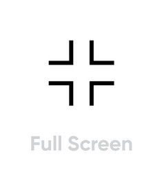 full screen video tv icon editable line vector image