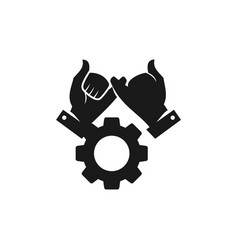 Gear industry commitment teamwork together black vector